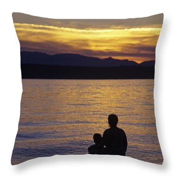 Mother And Daughter Holding Each Other Along Edmonds Beach At Su Throw Pillow