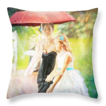 Mother And Daughter In The Garden Throw Pillow