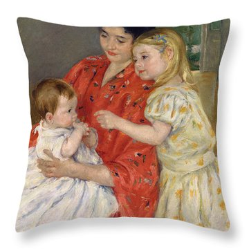 Mother And Sara Admiring The Baby Throw Pillow by Marry Cassatt