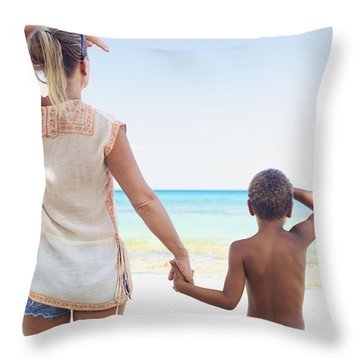 Mother And Son At Beach Throw Pillow by Kicka Witte