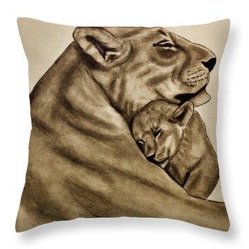 Throw Pillow featuring the drawing Mother And Son by Michael Cross
