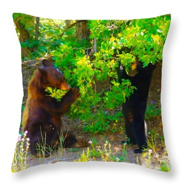 Mother Bear And Cub Throw Pillow by Jeff Swan