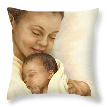 Mother Throw Pillow by Beverly Levi-Parker