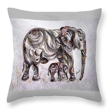 Mother Elephant Throw Pillow