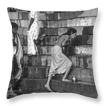 Mother Ganges Monochrome Throw Pillow by Steve Harrington