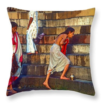 Mother Ganges Throw Pillow by Steve Harrington