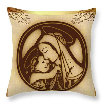 Throw Pillow featuring the digital art Mother Mary And Child by Mario Carini