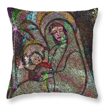 Throw Pillow featuring the digital art Mother Mary And Christ by Mario Carini