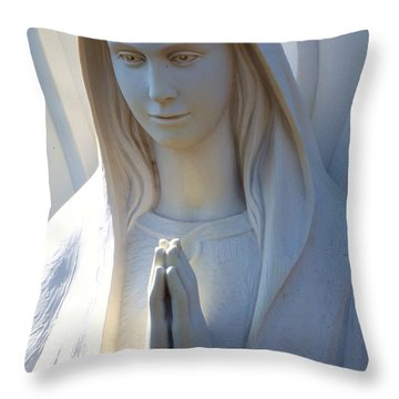 Mother Mary Statue Throw Pillow by David G Paul