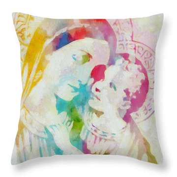 Mother Mary Watercolor Throw Pillow