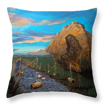 Throw Pillow featuring the painting Mother Of Anguishes  by Lazaro Hurtado