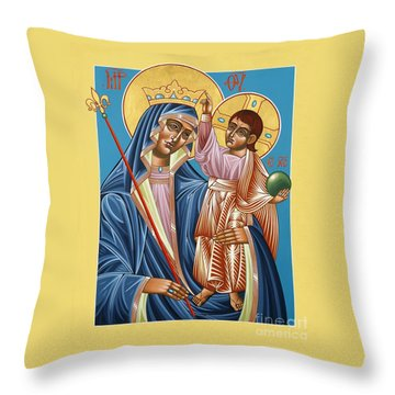 Throw Pillow featuring the painting Mother Of God Asking For Humility 143 by William Hart McNichols