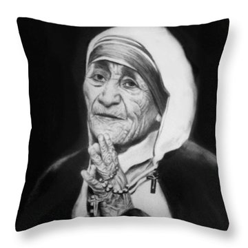 Mother Teresa Throw Pillow by Anthony Falbo