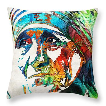 Mother Teresa Tribute By Sharon Cummings Throw Pillow