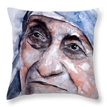 Mother Theresa Watercolor Throw Pillow