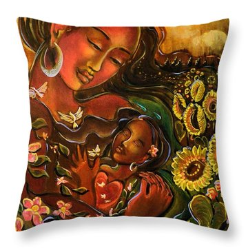 Mothering Myself Throw Pillow by Crystal Charlotte Easton