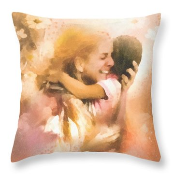 Mother's Arms Throw Pillow by Mo T