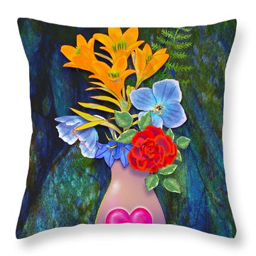 Mothers Day Bouquet Throw Pillow by Teresa Ascone