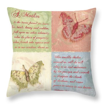 Mothers Day Butterfly Throw Pillow by Debbie DeWitt