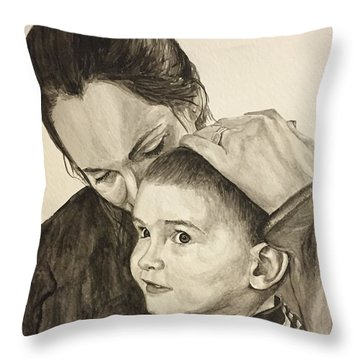 Throw Pillow featuring the painting Mother's Love by Tamir Barkan