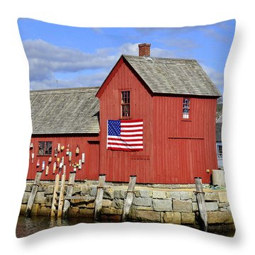 Throw Pillow featuring the photograph Motif In Rockport by Caroline Stella