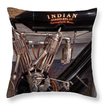 Motorcycle - An Oldie But A Goodie  Throw Pillow by Mike Savad