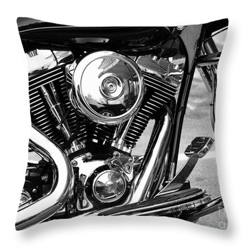 Motorcycle Engine Black And White Throw Pillow