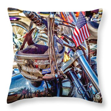 Throw Pillow featuring the photograph Motorcycle Helmet And Flag by Eleanor Abramson