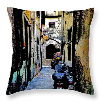 Throw Pillow featuring the digital art Motorcyle In Florence Alley by Jennie Breeze