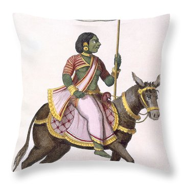 Moudevi, Goddess Of Discord And Misery Throw Pillow by Pierre Sonnerat