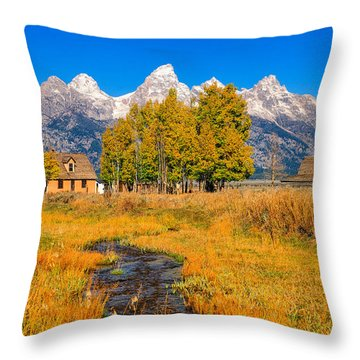 Moulton Homestead Throw Pillow by Greg Norrell