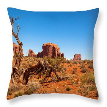 Moument Valley And Tree Stump Throw Pillow by Jane Rix