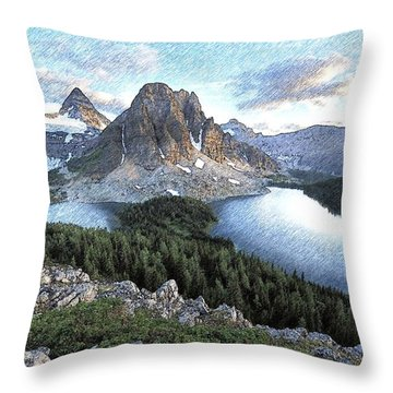 Mount Assiniboine In Pencil Throw Pillow