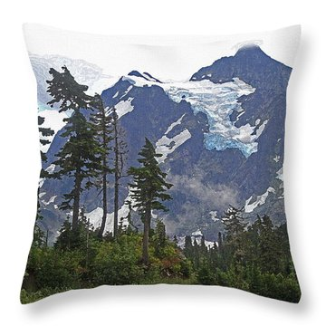 Mount Baker And Fir Trees And Glaciers And Fog Throw Pillow by Tom Janca