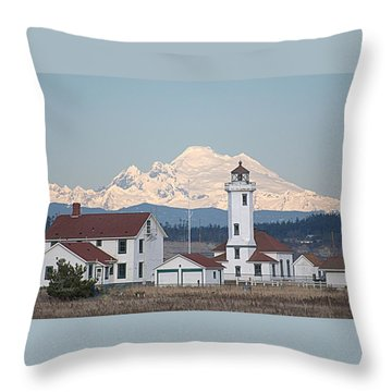 Mount Baker And Point Wilson Light Station Throw Pillow