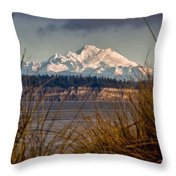 Mount Baker From Port Townsend Throw Pillow