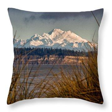 Mount Baker From Port Townsend Throw Pillow