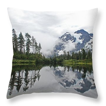 Mount Baker- Lake- Fir Trees And  Fog Throw Pillow by Tom Janca