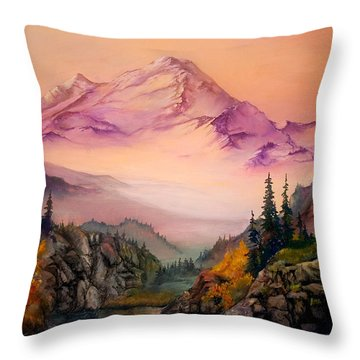Mount Baker Morning Throw Pillow