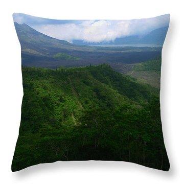 Mount Batur Bali Throw Pillow