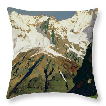 Mount Blanc Mountains Throw Pillow by Isaak Ilyich Levitan