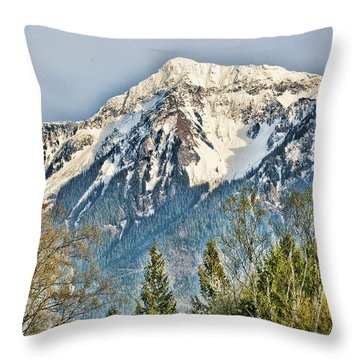 Mount Cheam In The Upper Fraser Valley Spring Throw Pillow by Lawrence Christopher