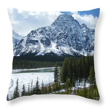 Throw Pillow featuring the photograph Mount Chephren - Mistaya Lake by Phil Banks