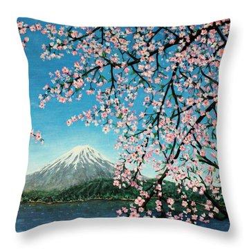 Mount Fuji Cherry Blossoms Throw Pillow by Sheena Kohlmeyer