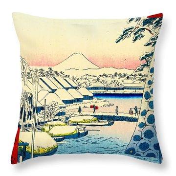 Mount Fuji From Sukiya Bridge 1858 Throw Pillow