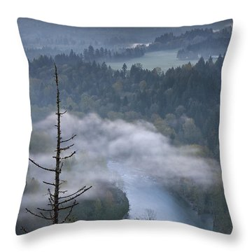 Mount Hood And Sandy River At Sunrise Throw Pillow