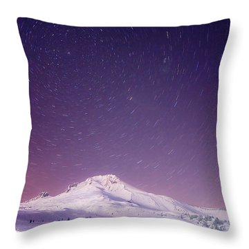 Mount Hood And Stars Throw Pillow