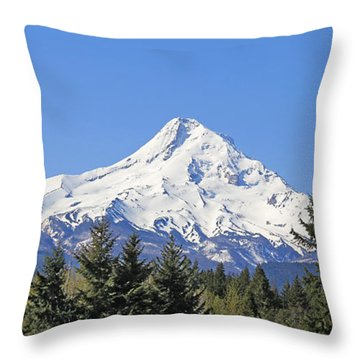 Mount Hood Mountain Oregon Throw Pillow by Jennie Marie Schell