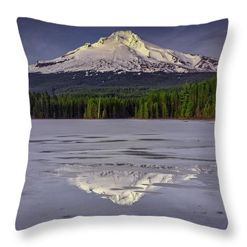 Mount Hood Reflections Throw Pillow
