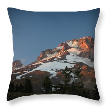 Throw Pillow featuring the photograph Mount Hood Summit In Warm Glow by Karen Lee Ensley